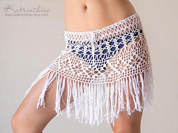 Crochet beach fringed skirt PATTERN PDF crochet cover up boho skirt ...
