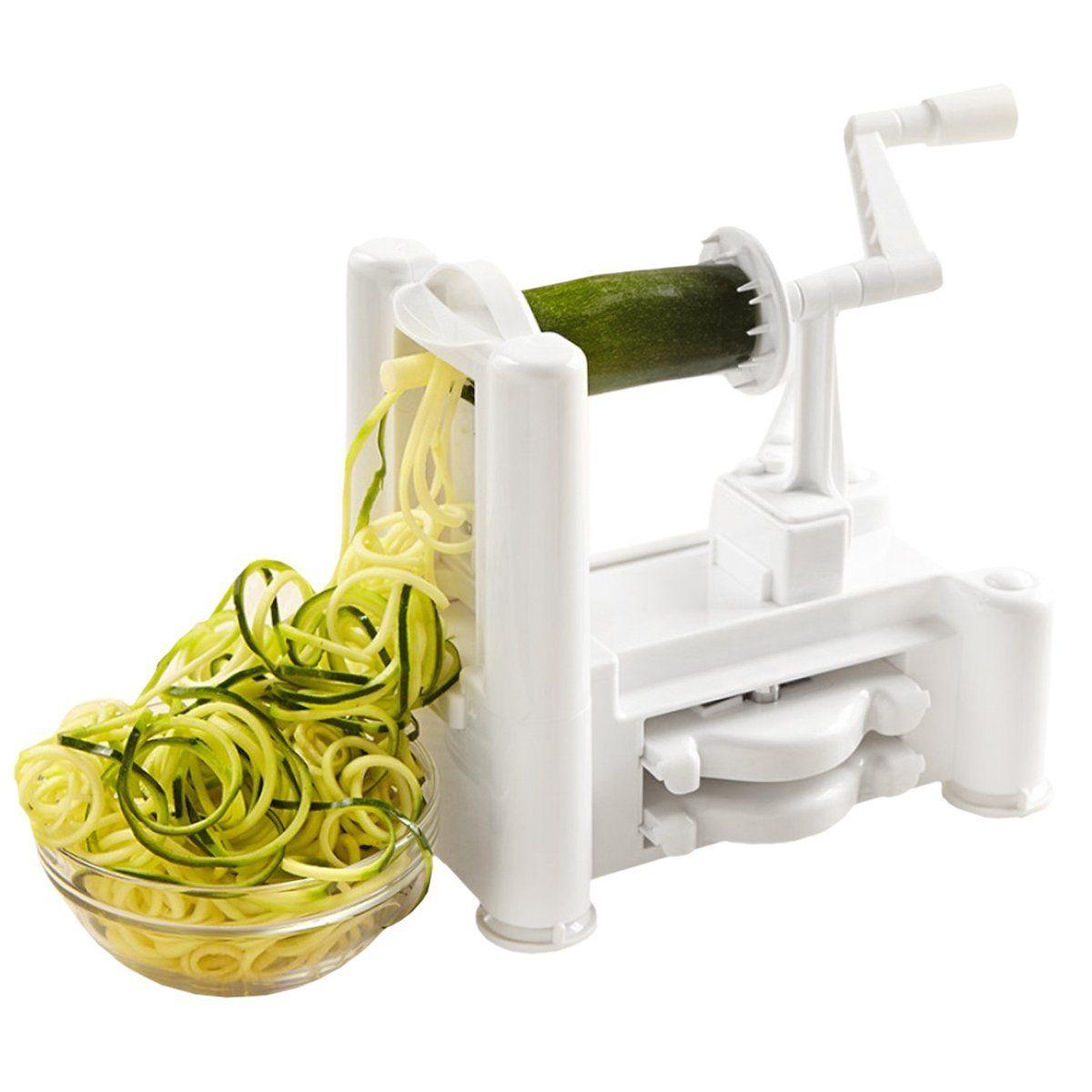 Amazon.com: Kinzi Tri-Blade Vegetable and Fruit Spiral Slicer Chopper, Veggie Pasta Spaghetti Maker: Home & Kitchen