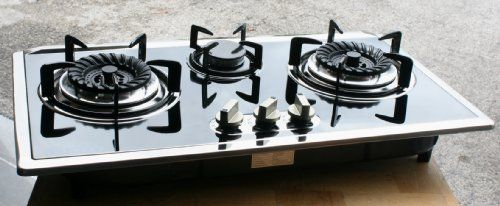 Propane Gas Stove Built In Counter Top 3 Burner Cooktop Range