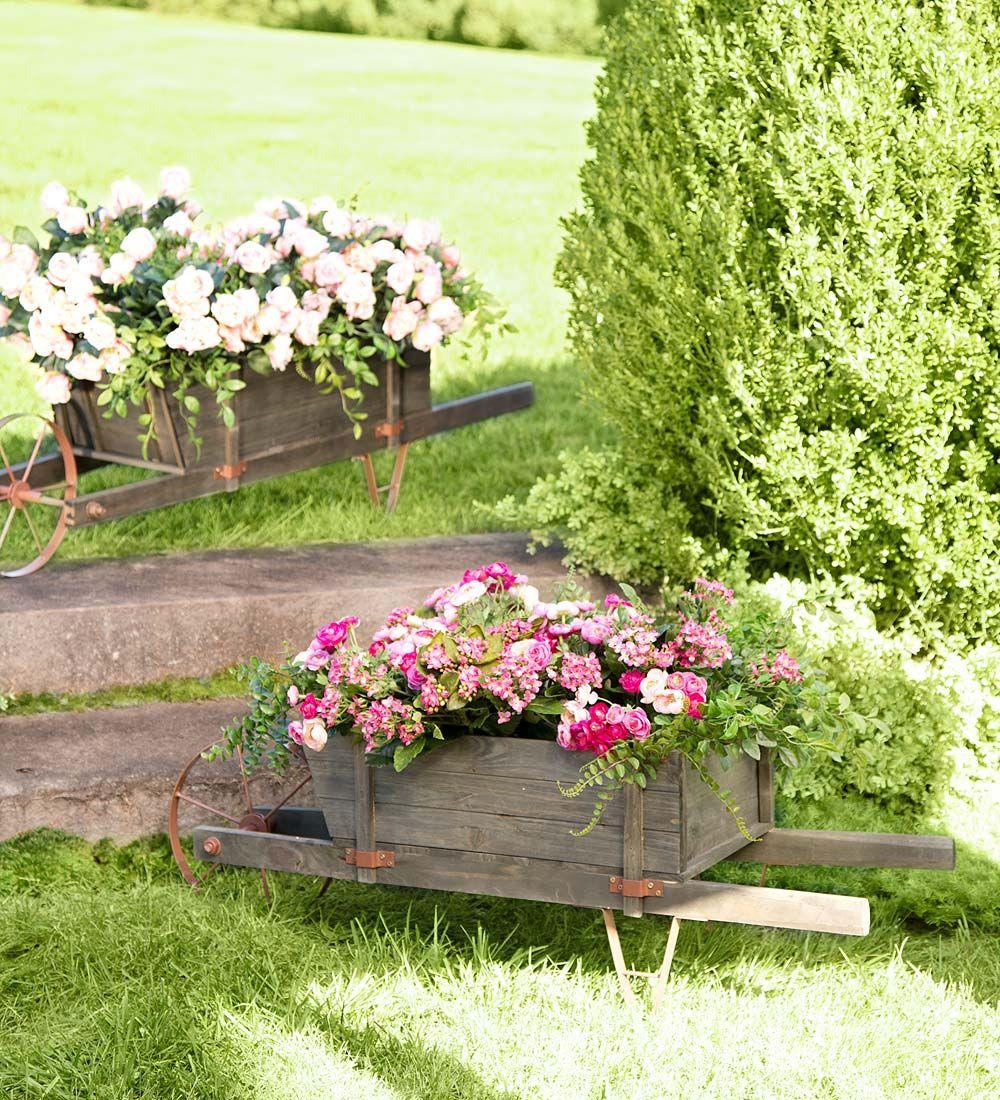 Wheelbarrow Planter | Her Birthday | Wood wheelbarrow planter ...
