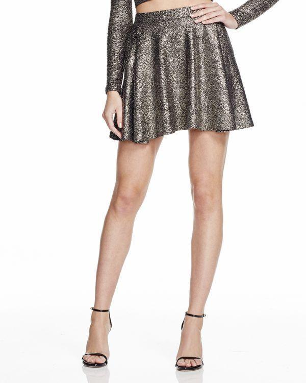 Aqua Splatter Fit & Flare Skirt