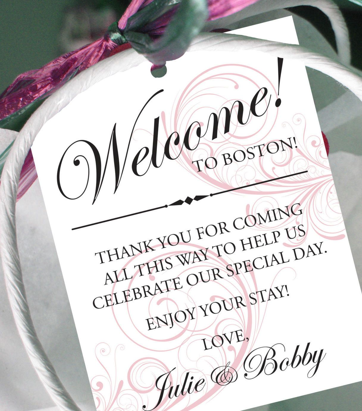 Set of 10 - Swirl Gift Tags for Wedding Hotel Welcome Bag ...