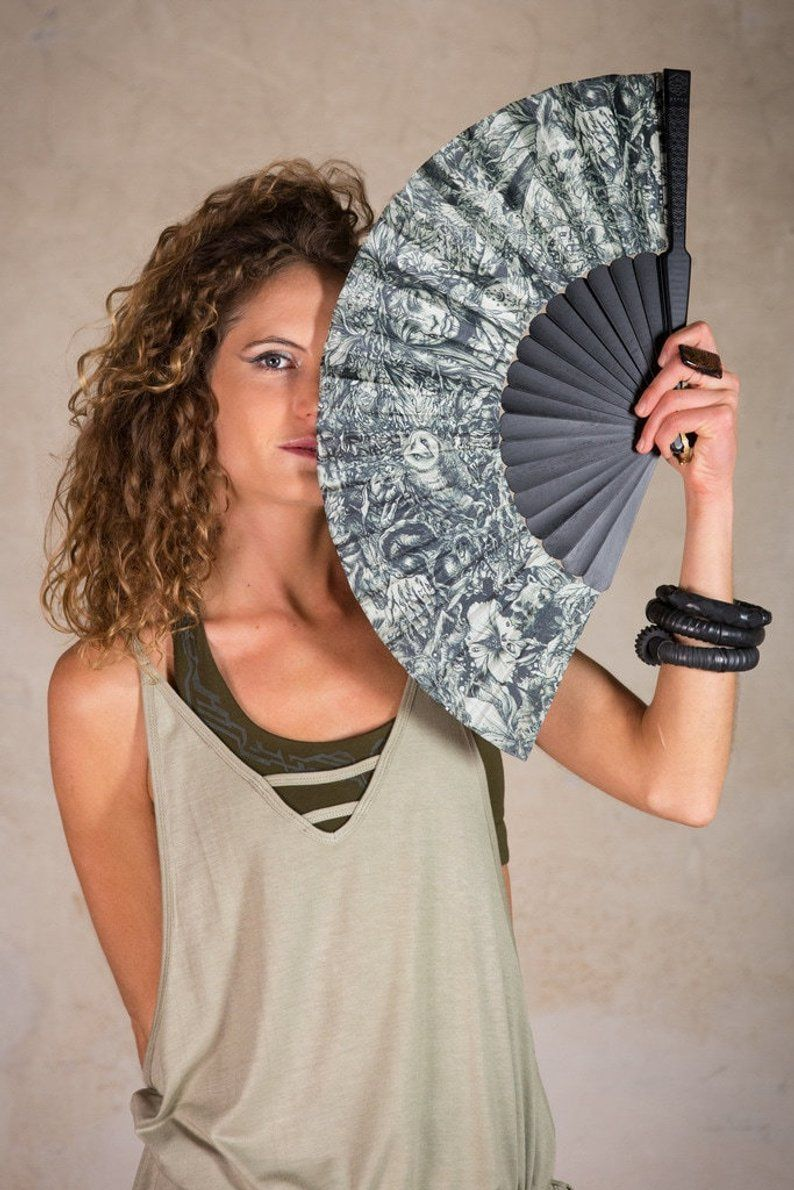 Hand Fan Folding Hand Fans With Dark Mori Design Goth Gifts
