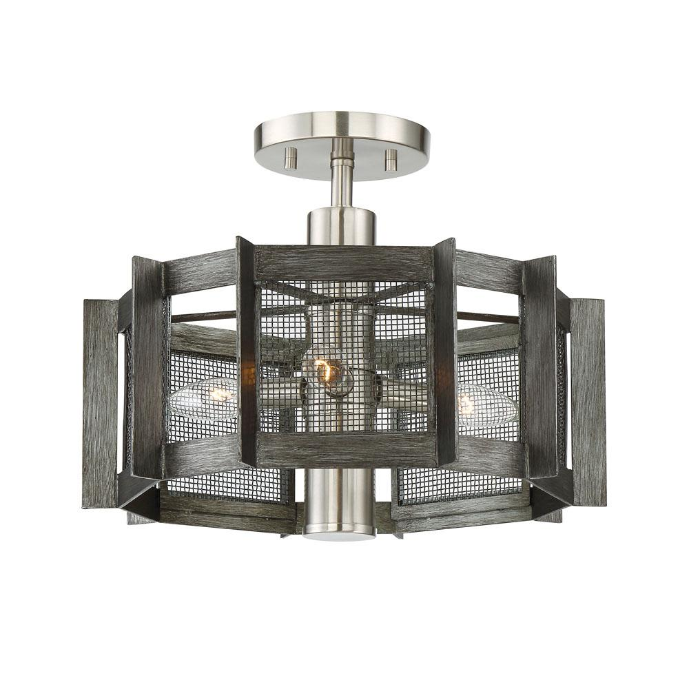 Designers fountain baxter light weathered iron semiflushmount