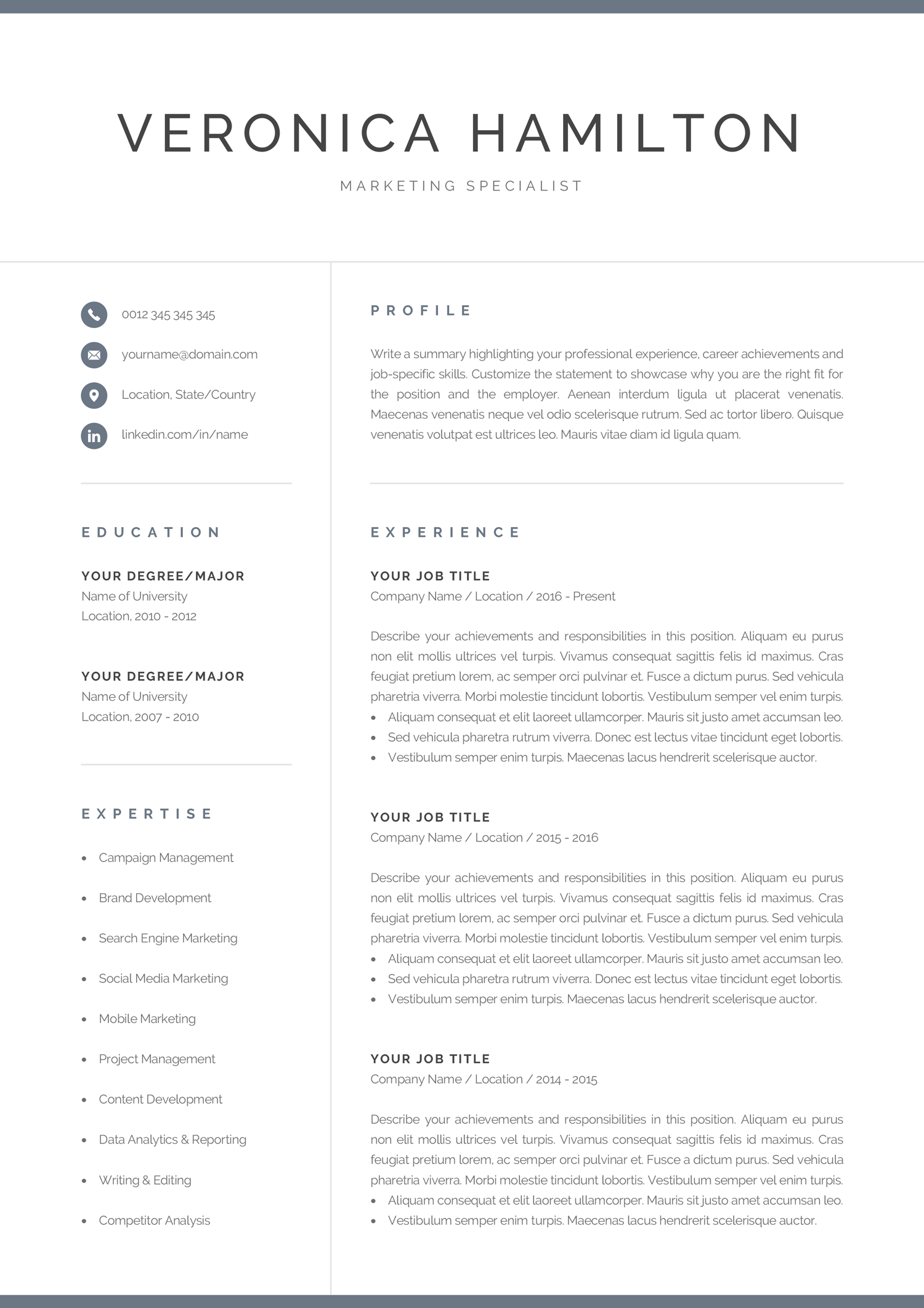 Professional Resume Template 1 And 2 Page Resume Modern Cv Template For Word Mac Pc Instant Download Cover Letter Veronica Resume Template Professional Marketing Resume Resume Examples