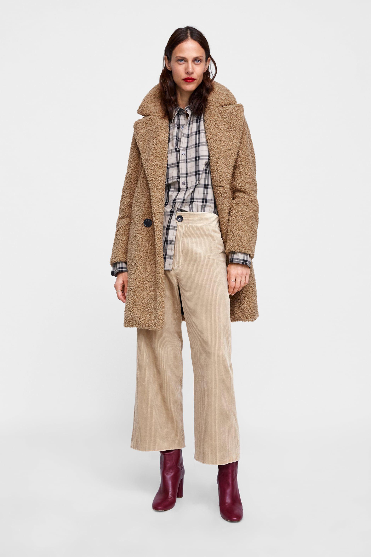 8102d51d0 Shearling textured coat in 2019 | W I N T E R . F A L L | Shearling ...