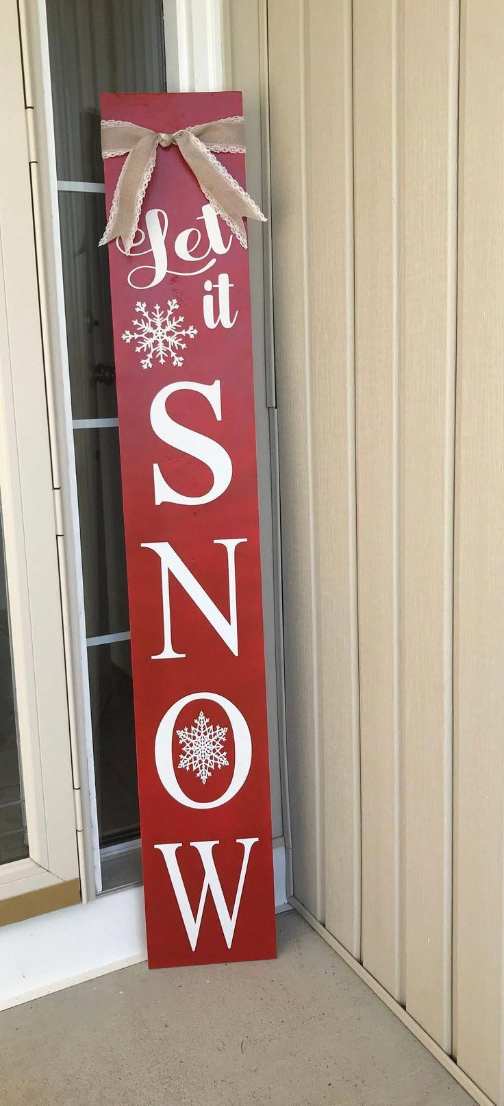 Let It Snow Tall Porch Sign, Large Porch Sign, Festive