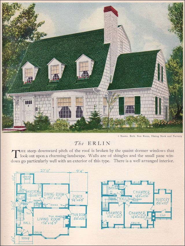 Erlin house plan vintage american architecture 1929 for Dutch colonial house plans with photos