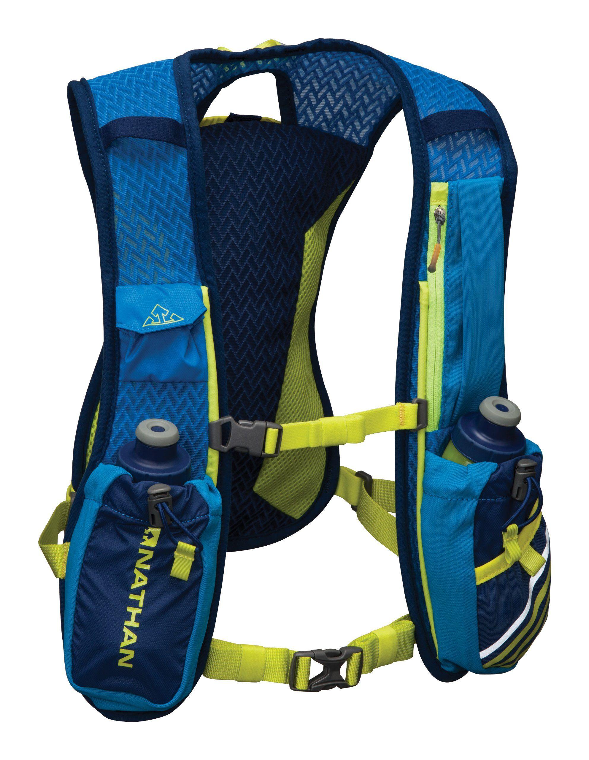 Amazoncom Nathan Firecatcher Hydration Vest Blue One Fueltbelt Neon Size Running Packs Sports Outdoors