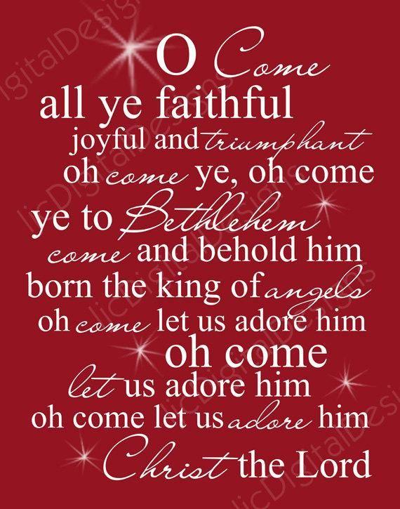 O Come All Ye Faithful Christmas Carol Word Art Lyrics Printable Digital Typography Decoration ...