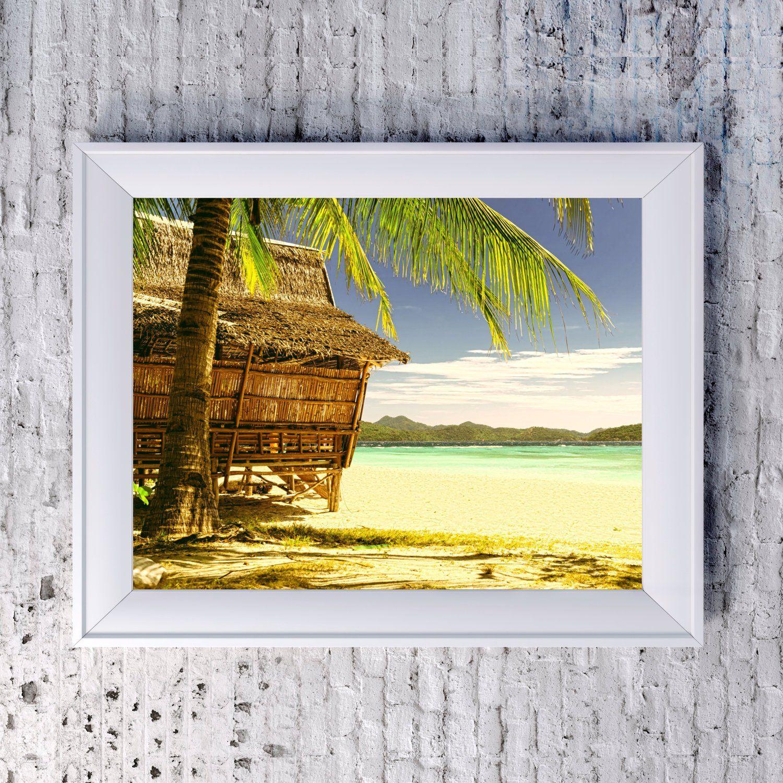 Vintage Beach Hut Print Digital Download Coastal Tropical Wall