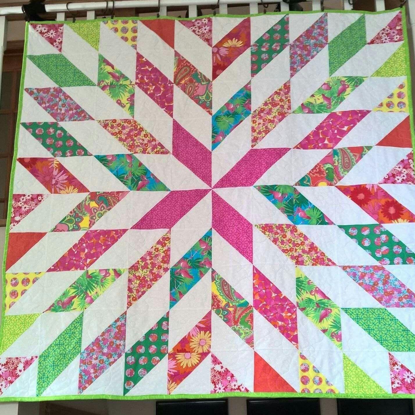 Starburst quilt Bahama Breeze fabric by Keelie Mann | Star quilts ... : starburst quilt - Adamdwight.com