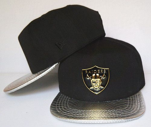 8c25cc1f02c Oakland Raiders Metal Logo Snapbacks Hats Black Snakeskin Brim Silvey
