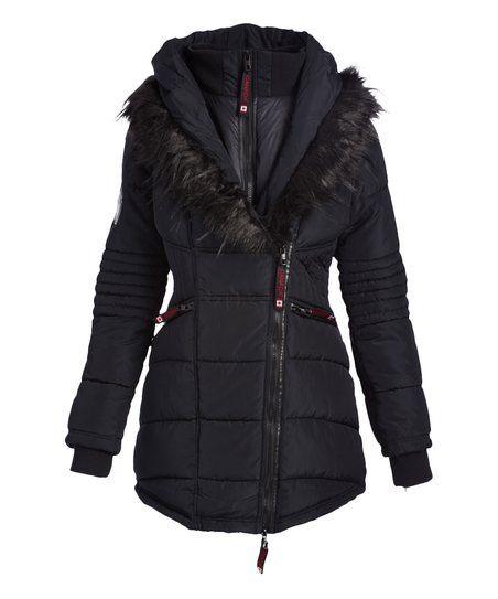 Canada Weather Gear Black Faux Fur Accent Asymmetrical Zip Puffer Coat Zulily Black Faux Fur Puffer Coat Asymmetrical Zip
