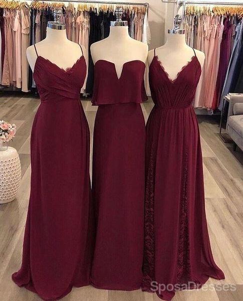 Unique Wedding Dresses With Color: Burgundy Mismatched Cheap Chiffon Long Wedding Party