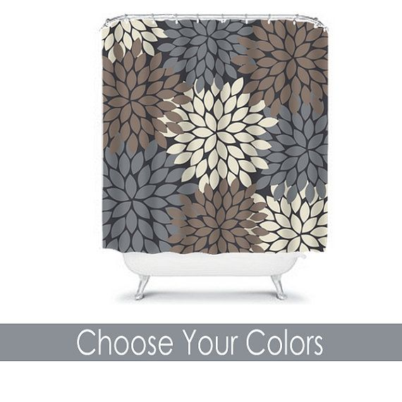 Shower Curtain CUSTOM You Choose Colors Brown Beige Ivory Gray Flower Burst  Dahlia Pattern Bathroom Bath
