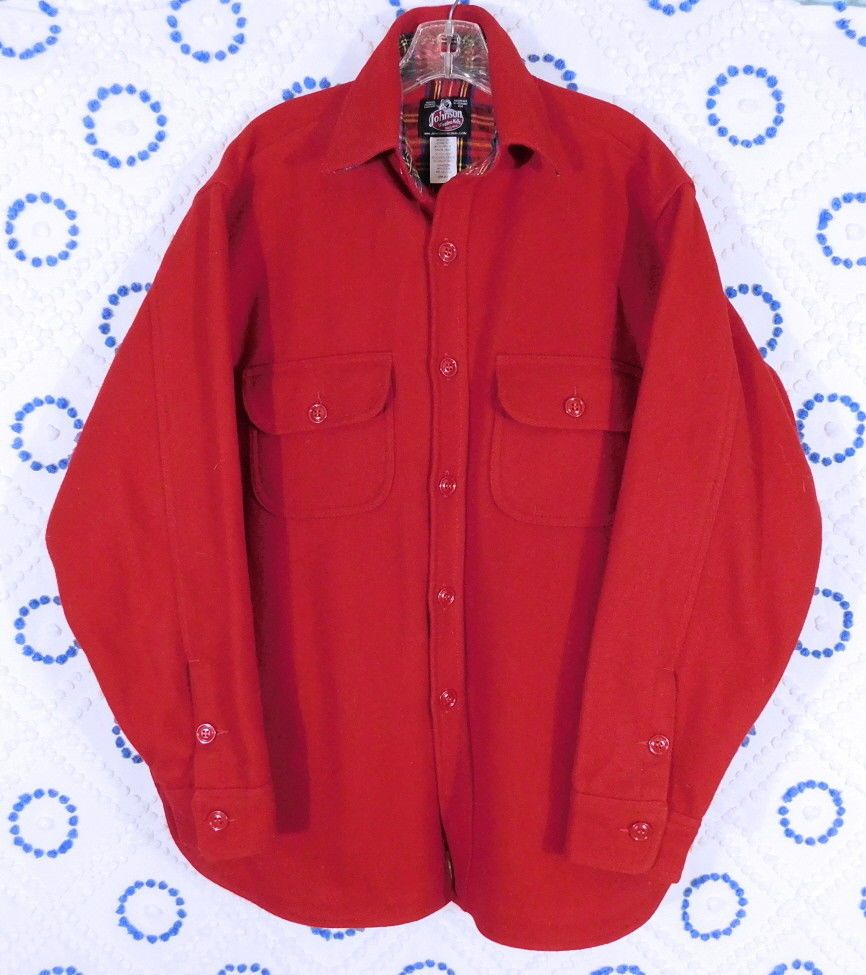 322bef36e0a Johnson Woolen Mills VT USA Wool Scarlet Red Flannel Lined Jacket Heavy  Shirt 46  JohnsonWoolenMills  ShirtJacket