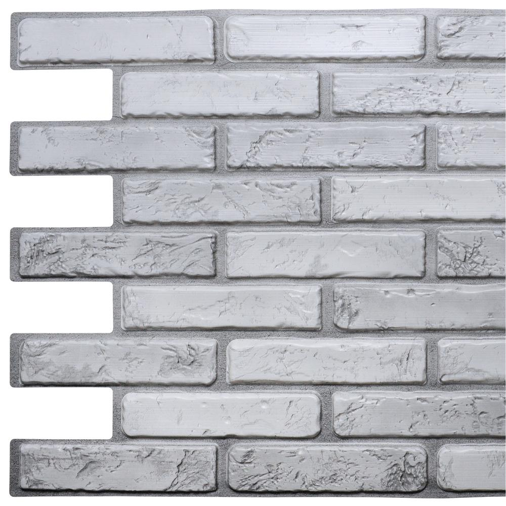 Dundee Deco 3d Falkirk Retro 10 1000 In X 38 In X 20 In Off White Grey Faux Brick Pvc Wall Panel Tp10009236 The Home Depot Brick Wall Paneling Pvc Wall Panels Fake Brick Wall