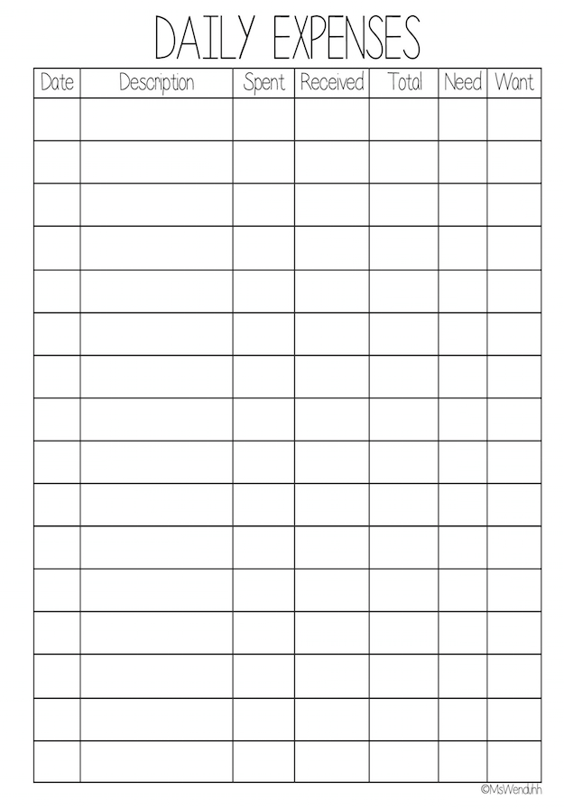 daily expense template
