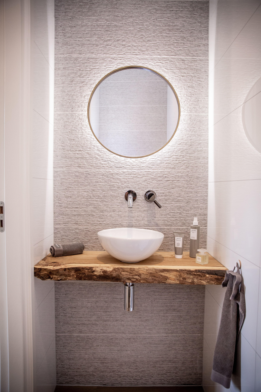 Beste luxe toilet met verlichte spiegel, eiken houten blad met een TM-43