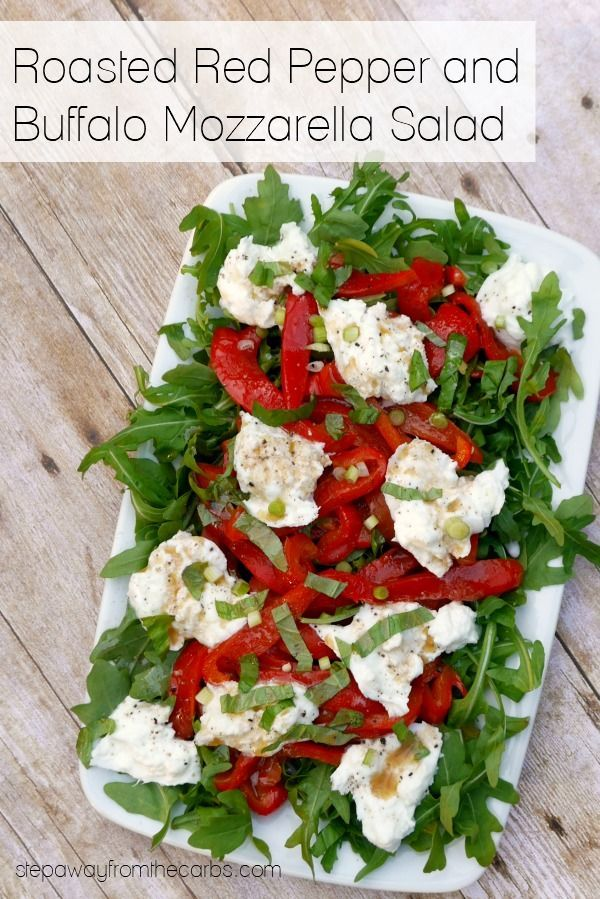Roasted Red Pepper and Buffalo Mozzarella Salad - low carb and keto recipe   - Keto Low Carb Salad Recipes -  -