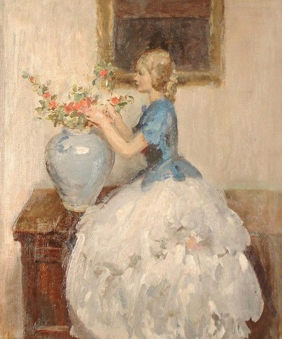 """Walter Ernest Webster (British, 1878-1959), """"Woman Tending to Flowers in a Vase"""""""