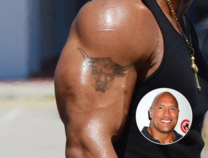 dwayne the rock johnson bears a taurus tattoo on his