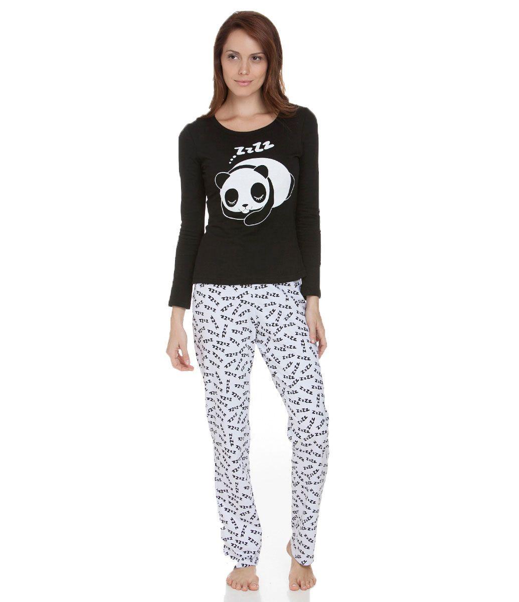 eadb6e687 Pijama feminino Manga longa Estampa de urso panda dormindo Calça estampada  Marca  Lov Tecido  algodão Composição  100% algodão Modelo veste tamanho  P  ...