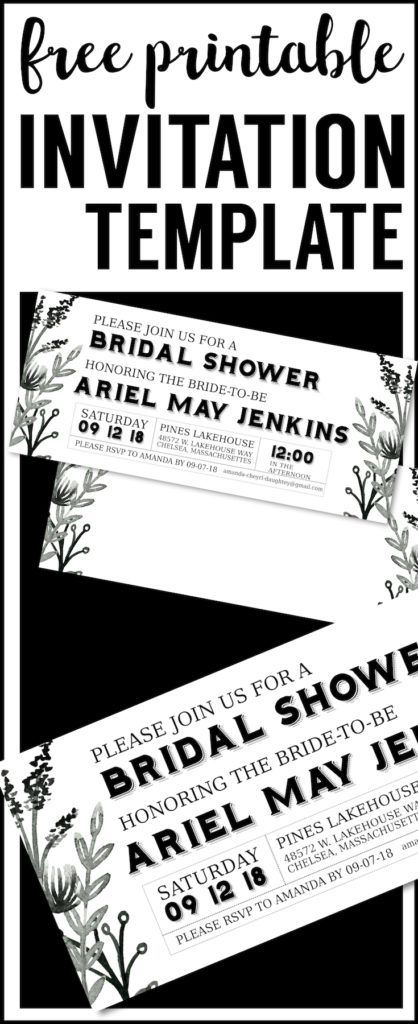 Black White Flowers Invitations Templates Free Printable DIY Party For A Baby Shower Bridal Birthday