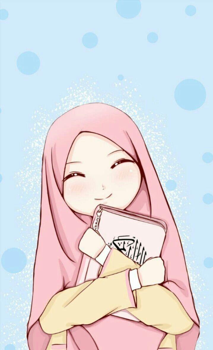 Hijabi Muslimah Ilustrasi Karakter Seni Islamis Ilustrasi
