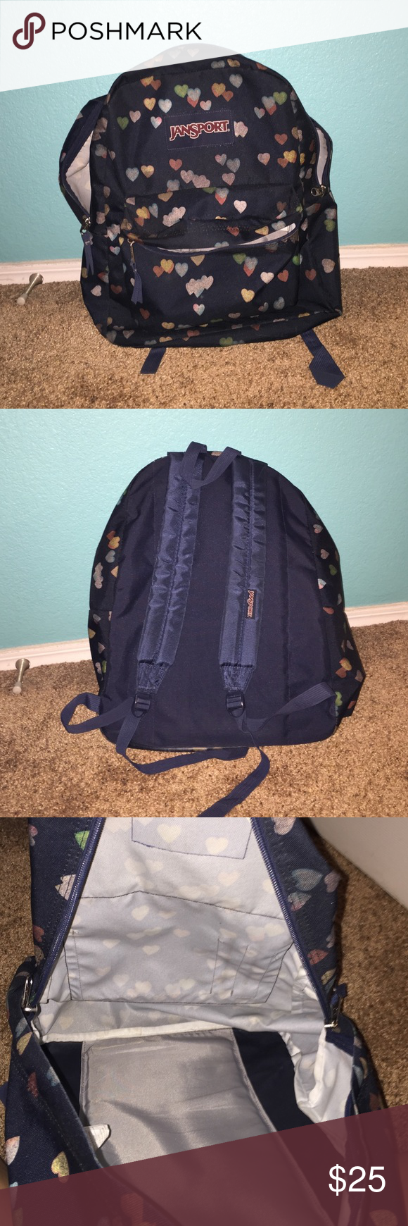 Jansport Decorative heart backpack In excellent (if not perfect condition), SLIGHT wear to the bottom, no tears, holes or stains Jansport Bags Backpacks