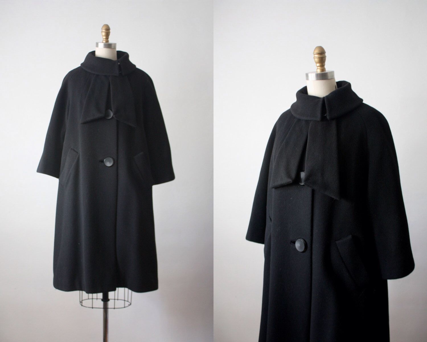 Swing coat / 1950s black wool coat | Black wool coat, Swing coats ...