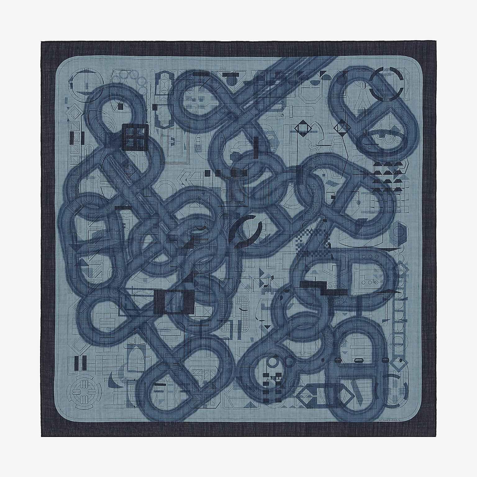 b2b11b5500fc Imprimeur Flou scarf 100   Bleu   Hermes, Silk scarves et Silk