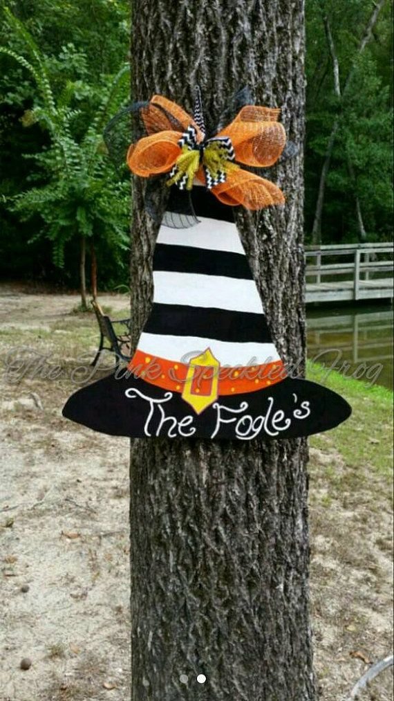 This is the perfect witch hat to hang on your door for the Halloween season. It can be personalized just for you. Just let me know what