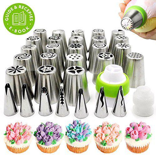 Russian Piping Tips Set 50 Pcs Cakes Decorating Supplies Cupcake