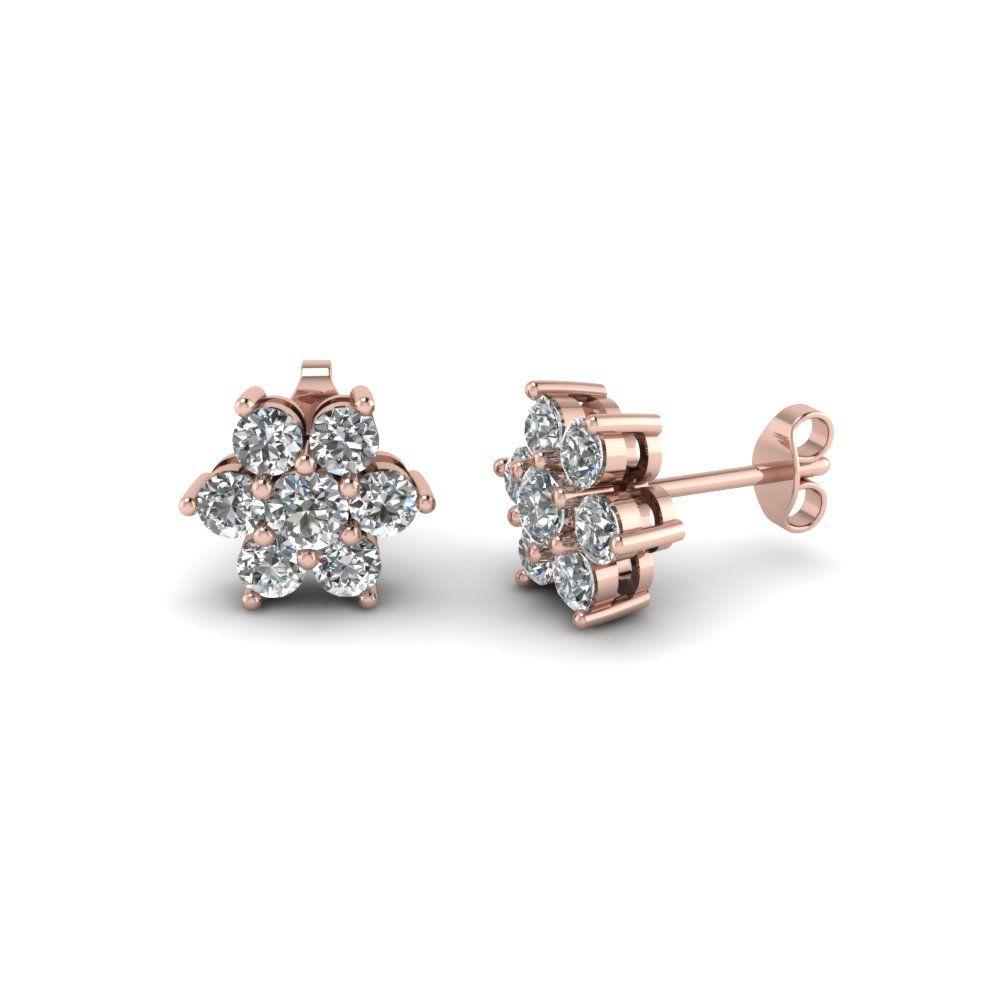 Diamond Flower Stud Women Earring In 14k Rose Gold Women S Earrings Earrings Flower Studs
