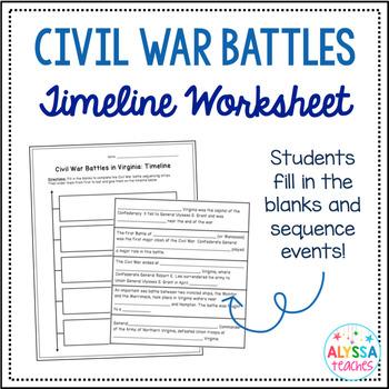 Virginia Civil War Battles Timeline Worksheet Vs 7b Civil War Timeline Civil War Battles Civil War