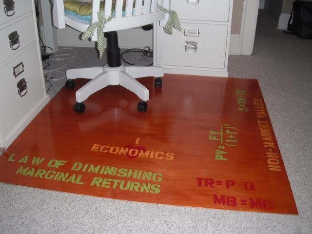 Diy Chair Mat For Hardwood Floor Swivel Outdoor Chairs Underlayment Stained Designed With Stencils