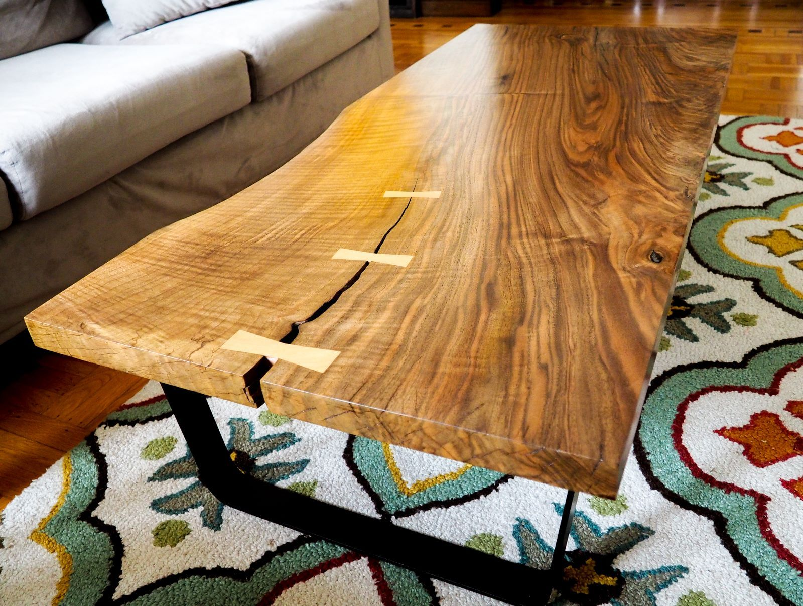 Handmade walnut wood coffee table by Baker Original coffeetable