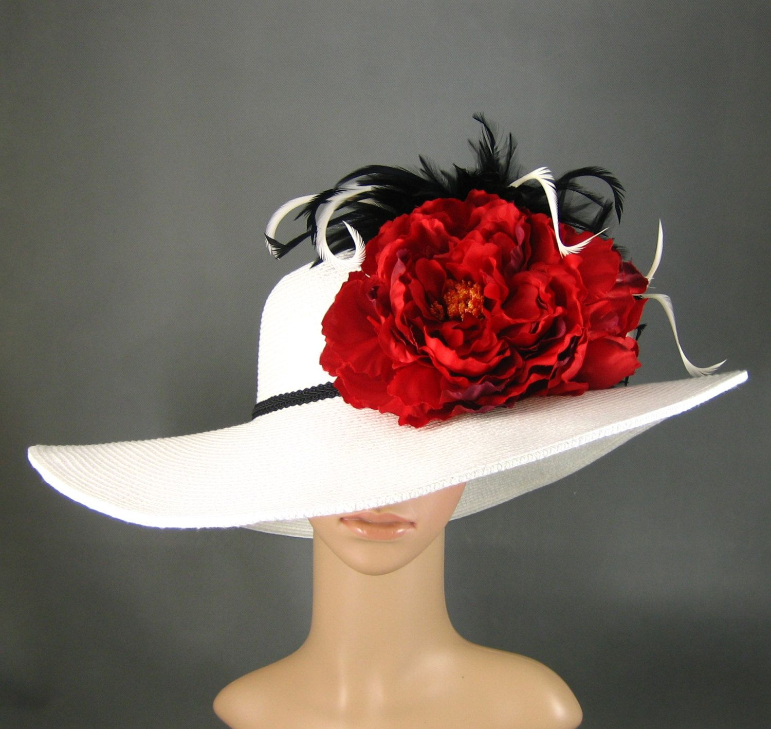 WHITE Kentucky Derby Hat Derby Hat Wedding Hat Dress Hat Church Hat Wide  Brim Hat with two Red Flowers Tea Party Ascot with Feathers.  84.00 3f2a5cab4be1