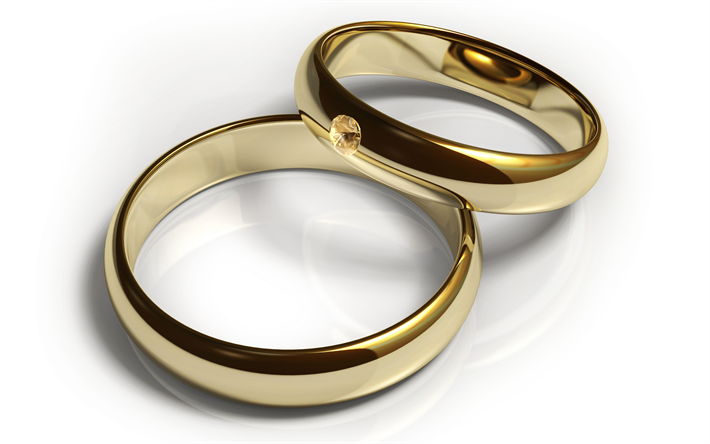 Download Wallpapers 3d Gold Rings 4k Jewelry Gold Objects