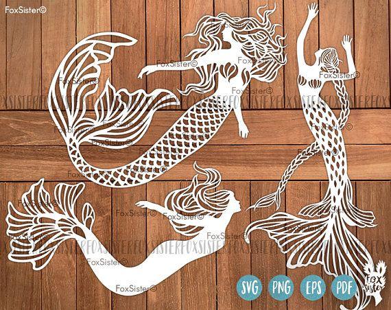 Mermaid Paper Cut Out