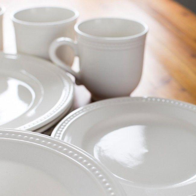 Thomson Pottery Pearlina Stoneware Dinnerware - Set of 16 (White) & Thomson Pottery Pearlina Stoneware Dinnerware - Set of 16 (White ...