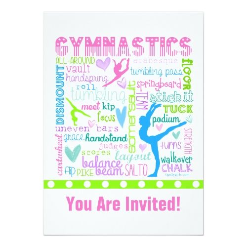 Personalized Pastel Gymnastics Words Typography Invitation