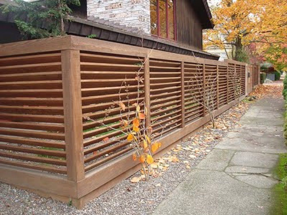 Through modern fence pictures will help you choose the for Wooden garden fences designs