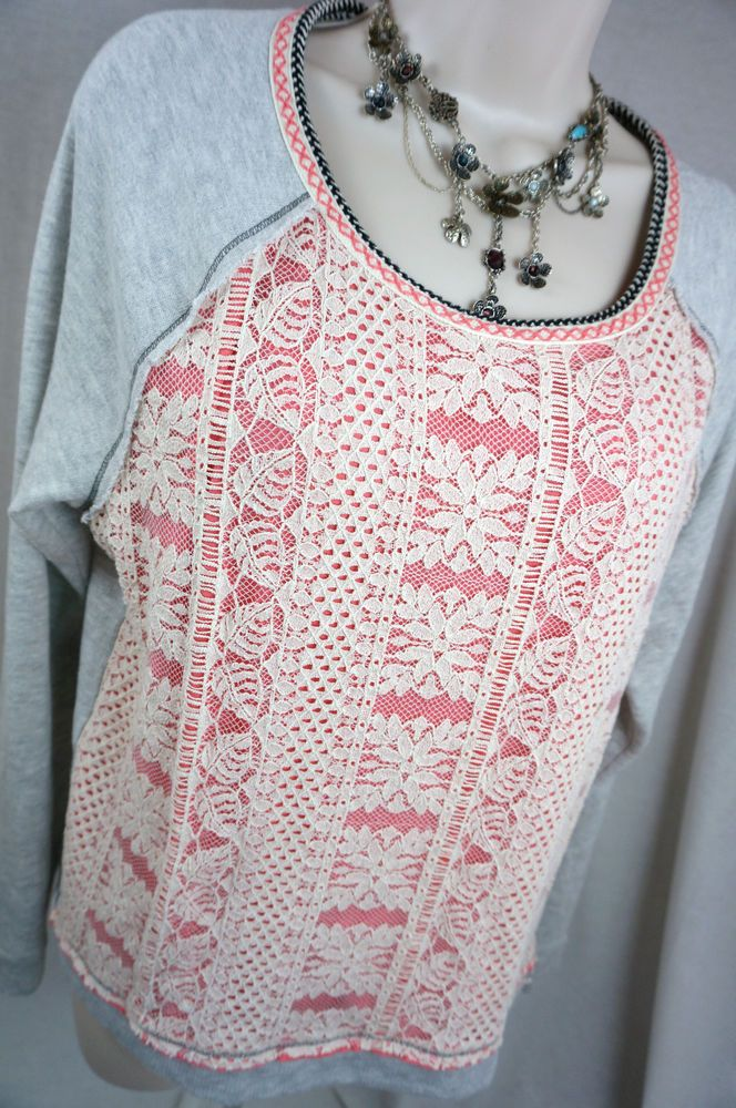 REWIND Gray Sweater Sweatshirt Floral Lace Womens Top Shirt Blouse XL XLarge…