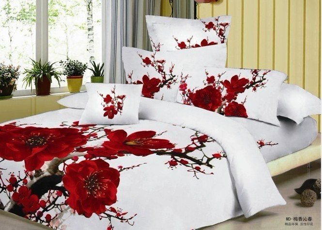 100 cotton red romantic plum blossom flower floral pattern comforter sets 5pc with quilt - Romantic Bed Sets