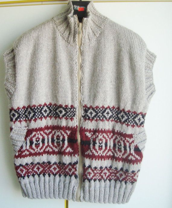 Hand Knitted Sweater Vest Mens Vest Sweater XXL by earflaphats ...