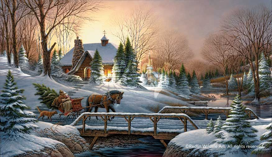 Terry Redlin HEADING HOME Encore Print Christmas Sleigh Dog and ...