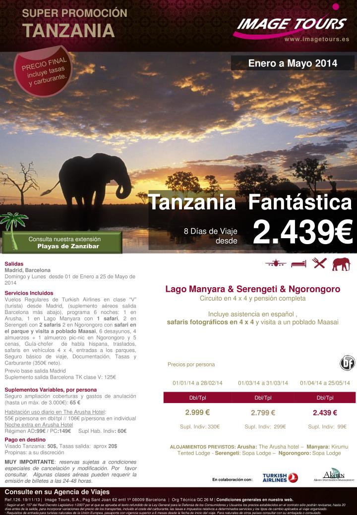 TANZANIA Fantástica hasta Mayo 2014, 8 días de viaje con safaris en 4 x 4 desde 2.439€ precio final ultimo minuto - http://zocotours.com/tanzania-fantastica-hasta-mayo-2014-8-dias-de-viaje-con-safaris-en-4-x-4-desde-2-439e-precio-final-ultimo-minuto/